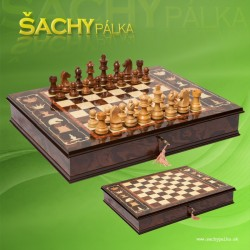 Luxurios Italian Marquetry Walnut Chess Cabinet