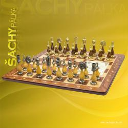 Chess Men Metal Wood Staunton Arabescato